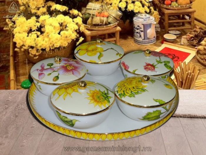 Bộ khay mứt ( 5 chén in hoa) IFP-22290144403 gốm sứ Minh Long I1