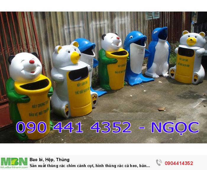 Sản xuất thùng rác chim cánh cụt, hình thùng rác cá heo, bán thùng rác cá chép. thùng rác chuột mickey...