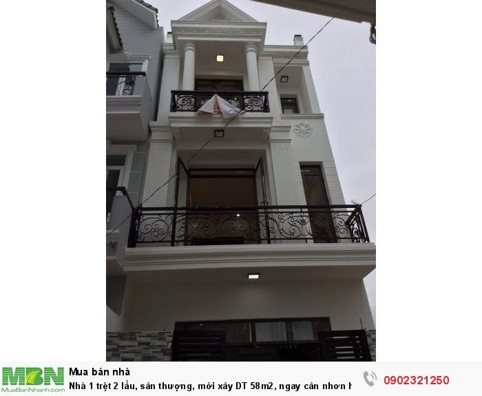Nhà 1 trệt 2 lầu, sân thượng, mới xây DT 58m2, ngay cân nhơn hòa, đường 4m