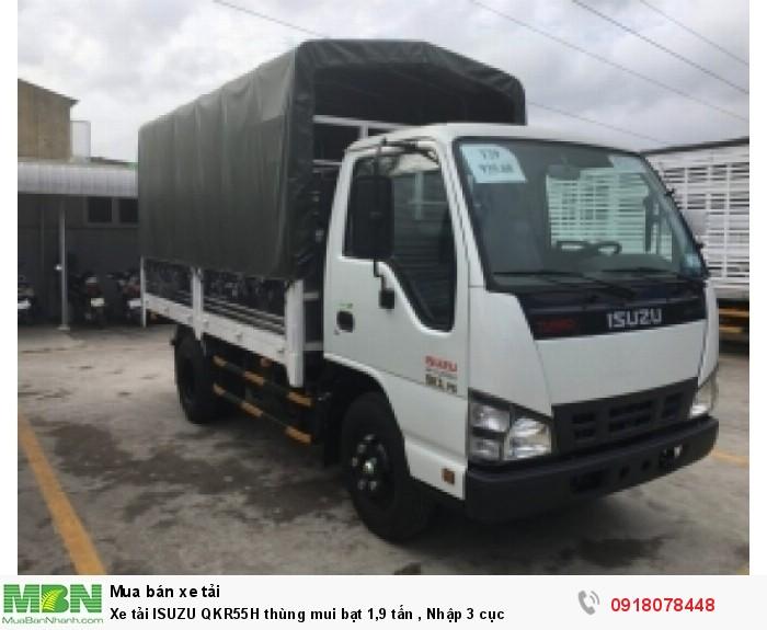 - Loại xe: Ô tô tải (có mui) - Tự trọng bản thân: 2.595 kg - Tải trọng cho phép chở: 2.200 kg - Tổng tải trọng: 4.990 kg - Cỡ lốp: 7.00 - 15 - Động cơ: ISUZU - 4JB1 E2N - Kích thước lòng thùng: 4.390 x 1.740 x 1.870 mm  - Kích thước tổng thể: 6.160 x 1.880 x 2.875 mm