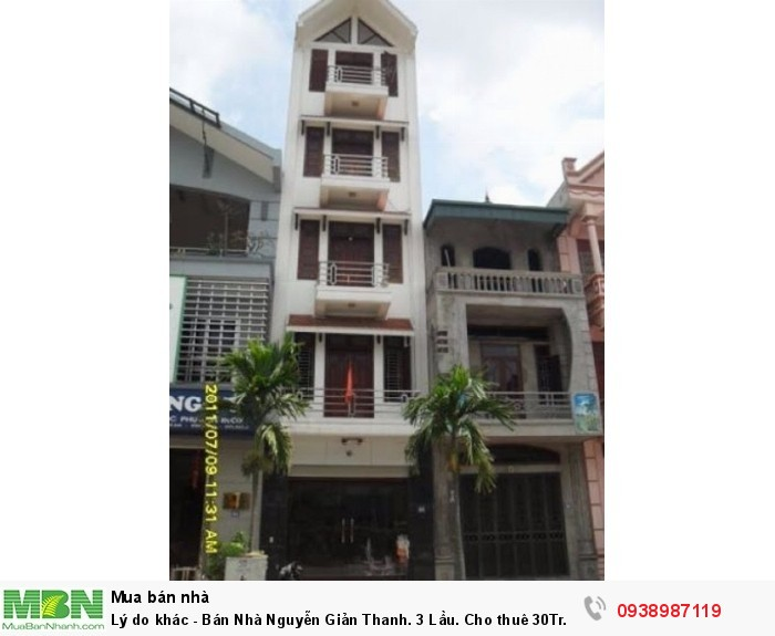 Bán Nhà Nguyễn Giản Thanh. 3 Lầu. Cho thuê  30Tr.