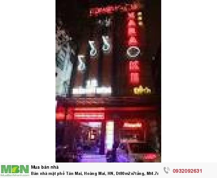 Bán nhà mặt phố Tân Mai, Hoàng Mai, HN, Dt80m2x7tầng, Mt4.7m, giá 22 tỷ