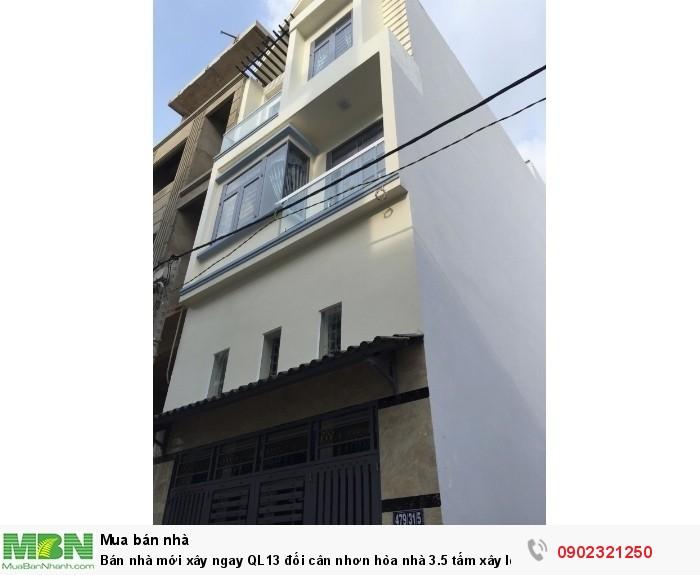 Bán nhà mới xây ngay QL13 đối cân nhơn hòa nhà 3.5 tấm xây lệch tấm DT 58m2/3 tỷ
