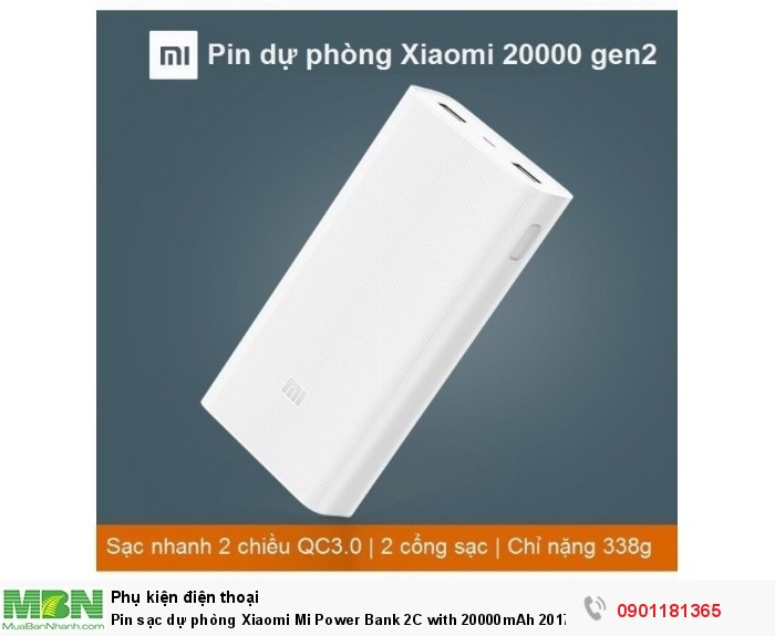 Sạc dự phòng Xiaomi 20000 gen2c với dung lượng pin cực khủng cho phép bạn thoải mái ở ngoài mà không lo điện thoại máy tính bảng hết pin...0