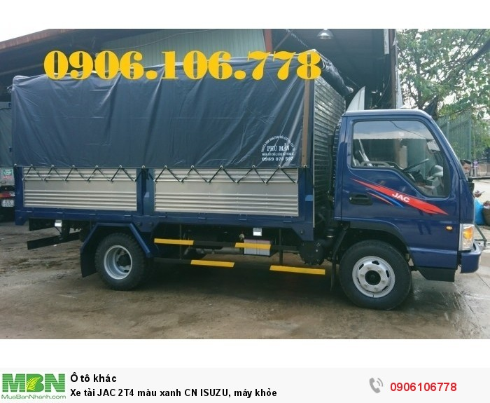Xe tải JAC 2T4 màu xanh CN ISUZU, máy khỏe
