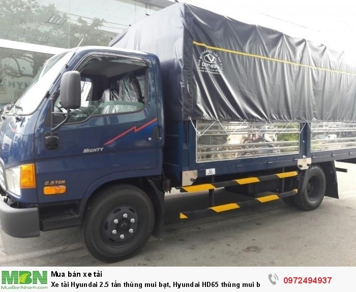 Xe tải Hyundai 2.5 tấn thùng mui bạt, Hyundai HD65 thùng mui bạt