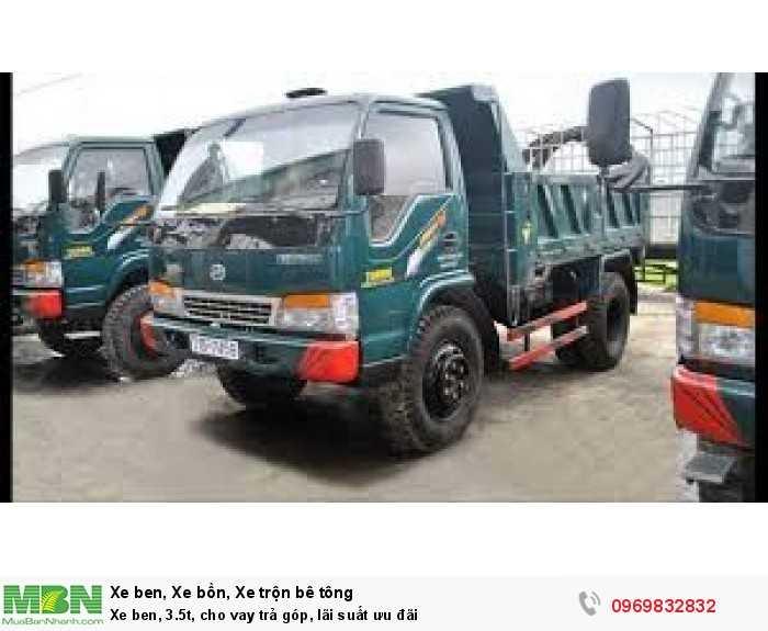 bán xe tải ben, 3.5t, cho vay trả góp, lãi suất ưu đãi