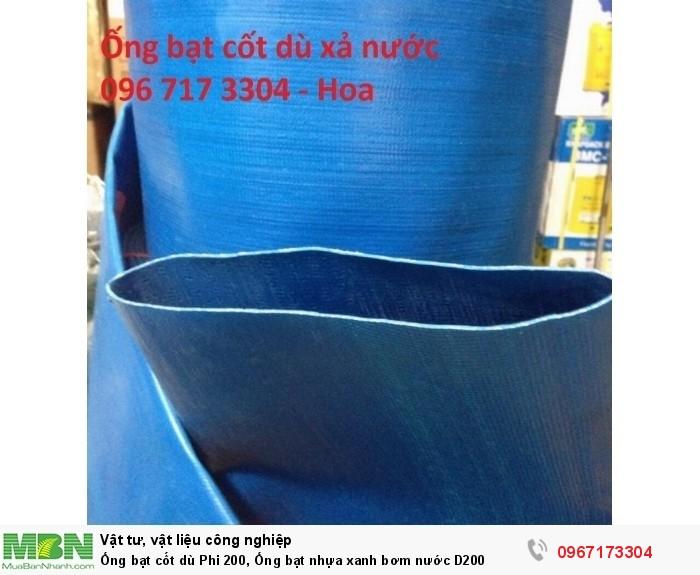Ống bạt cốt dù Phi 200, ống bạt nhựa xanh bơm nước D2000