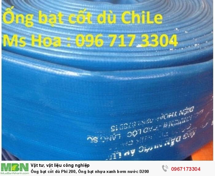 Ống bạt cốt dù Phi 200, ống bạt nhựa xanh bơm nước D2002