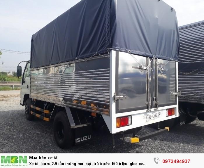 Xe tải Isuzu 2.9 tấn, thùng mui bạt, trả trước 150 triệu, giao xe ngay