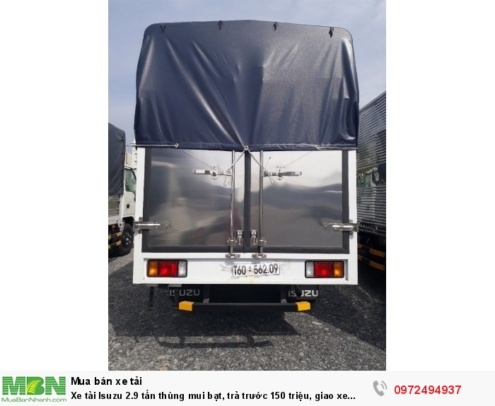 Xe tải Isuzu 2.9 tấn thùng mui bạt, trả trước 150 triệu, giao xe ngay