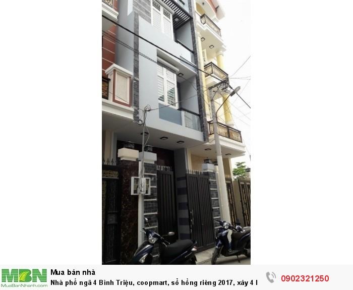 Nhà phố ngã 4 Bình Triệu, coopmart, sổ hồng riêng 2017, xây 4 lầu đường trước nhà 8m, 60m2