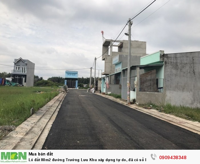Lô đất 80m2 đường Trường Lưu Khu xây dựng tự do, đã có sổ hồng riêng