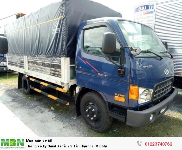 Thông số kỹ thuật Xe tải 2.5 Tấn Hyundai Mighty
