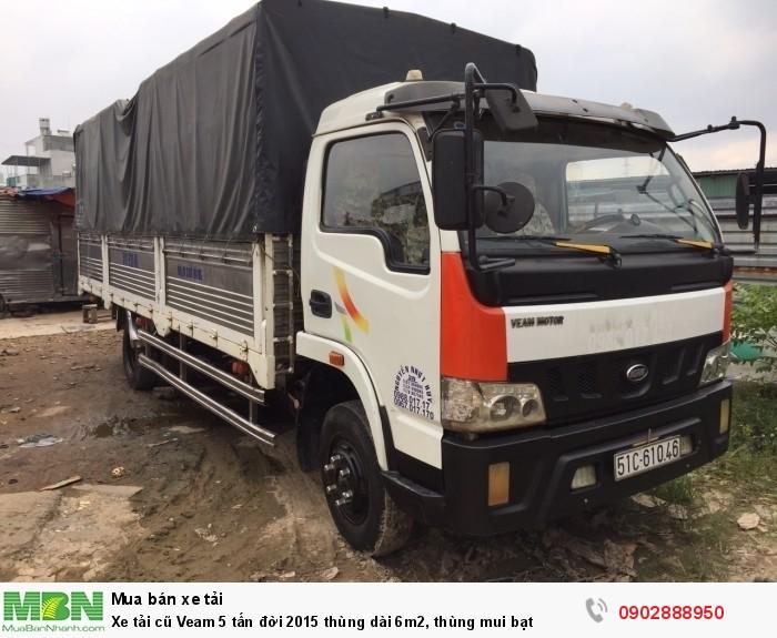 Xe tải cũ Veam 5 tấn đời 2015 thùng dài 6m2, thùng mui bạt 2