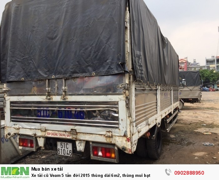 Xe tải cũ Veam 5 tấn đời 2015 thùng dài 6m2, thùng mui bạt 4