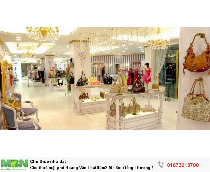 Cho thuê mặt phố Hoàng Văn Thái 80m2 MT 6m 7tầng Thưởng