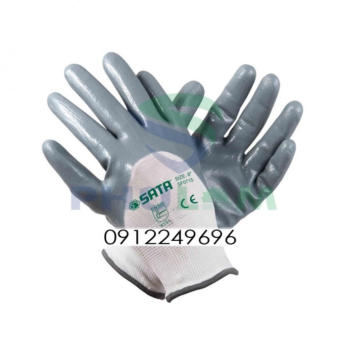 Găng tay polyester phủ nitril chống dầu0
