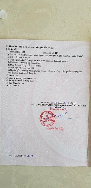 Đất nền sổ đỏ Hoàng QUốc Việt, quận 7