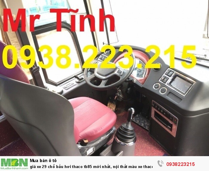 Giá xe 29 chỗ bầu hơi thaco tb85 mới nhất, nội thất màu xe thaco tb85 w200 mới