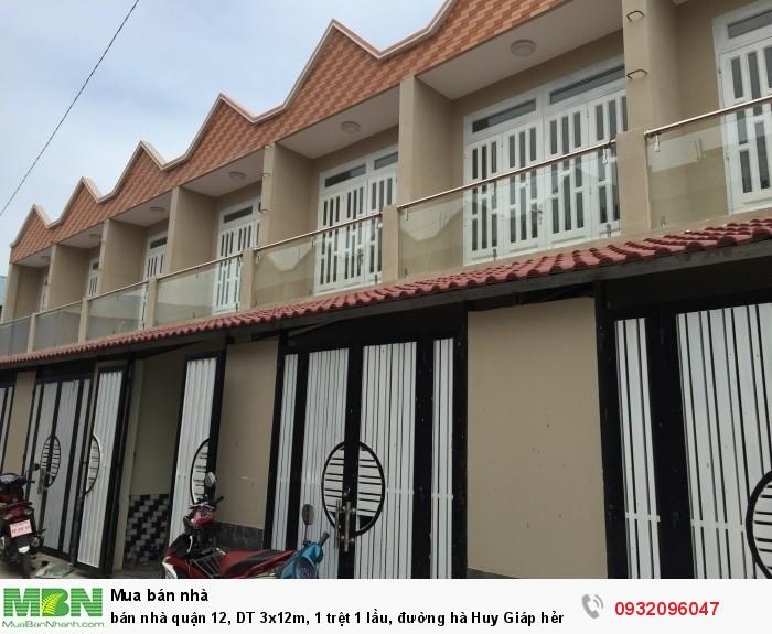 bán nhà quận 12, DT 3x12m, 1 trệt 1 lầu, đường hà Huy Giáp  hẻm 6m, giá rẻ