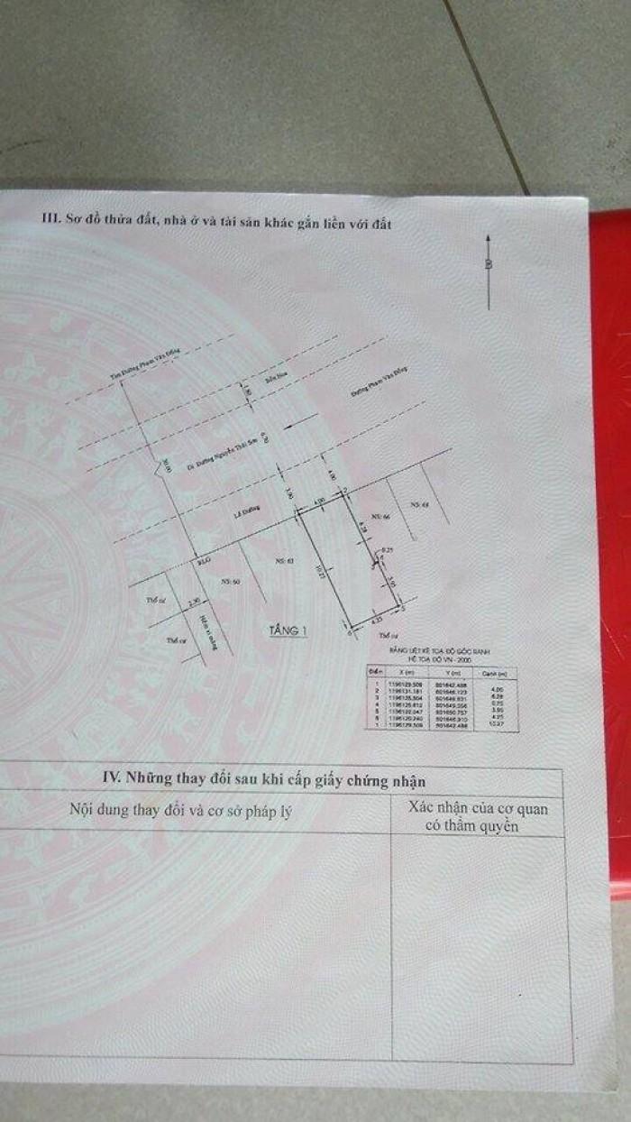 Bán gấp nhà mặt tiền đường phạm văn Đồng