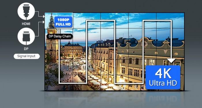Với sự gia tăng về kích cỡ màn hình , độ phân giải của nội dung giờ đây thực sự quan trọng để có thể trình chiếu với hình ảnh đẹp ấn tượng. Là công ty hàng đầu trong ngành về dòng màn hình ghép Videowall có cổng màn hình tích hợp DisplayPort (DP) 1.2 và cổng HDMI, dòng sản phẩm màn hình UDE-A của Samsung có thể hiển thị hình ảnh ở định dạng cao UHD, xuyên suốt màn hình, lớn đến cỡ 5x5 mà không phải mua thêm bất kỳ thiết bị ngoại vi đắt tiền nào. So với các loại màn hình Videowall truyền thống thường đòi hỏi phải có thiết bị đi kèm và thường chỉ chứa được kích cỡ 2x2, dòng màn hình UDE cho thấy một sự tiến bộ vượt bậc. Bằng cách hỗ trợ Bảo vệ nội dung trong băng thông rộng (HDCP), dòng màn hình ghép Videowall UDE có thể hiển thị nội dung UHD, như chương trình trực tiếp TV, hoặc chiếu nội dung trên đĩa Blu-Ray, mà không cần phải mua thêm thiết bị, giảm thiểu chi phí lắp đặt nhiều màn hình như một phần của việc ưu tiên sử dụng màn hình quảng cáo cỡ lớn hoặc trình chiếu thông tin.1