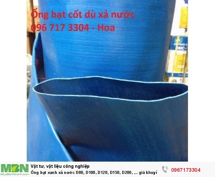 Ống bạt xanh xả nước D80, D100, D120, D150, D200, ... giá khuyến mại hàng có sẵn0