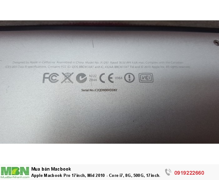 Apple Macbook Pro 17inch, Mid 2010 - Core i7, 8G, 500G, 17inch Full HD, webcam,đèn phím,máy rất đẹp5