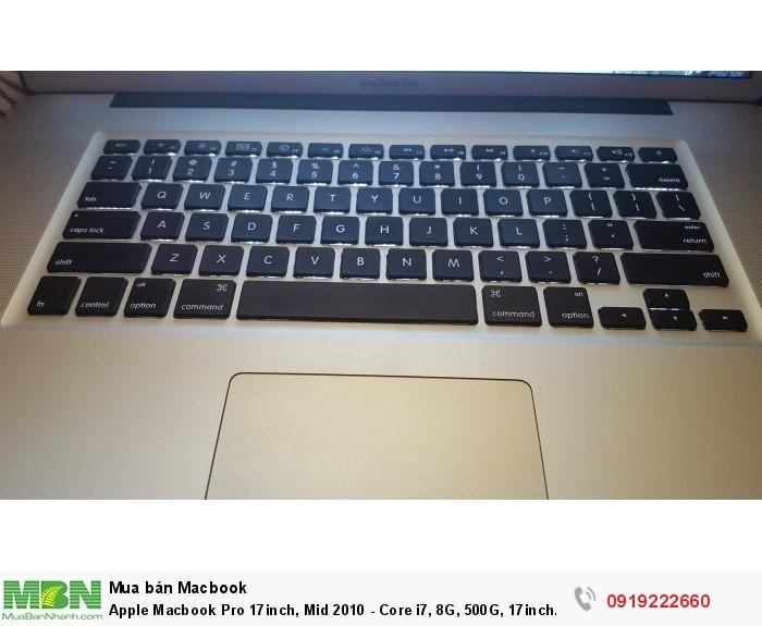 Apple Macbook Pro 17inch, Mid 2010 - Core i7, 8G, 500G, 17inch Full HD, webcam,đèn phím,máy rất đẹp8