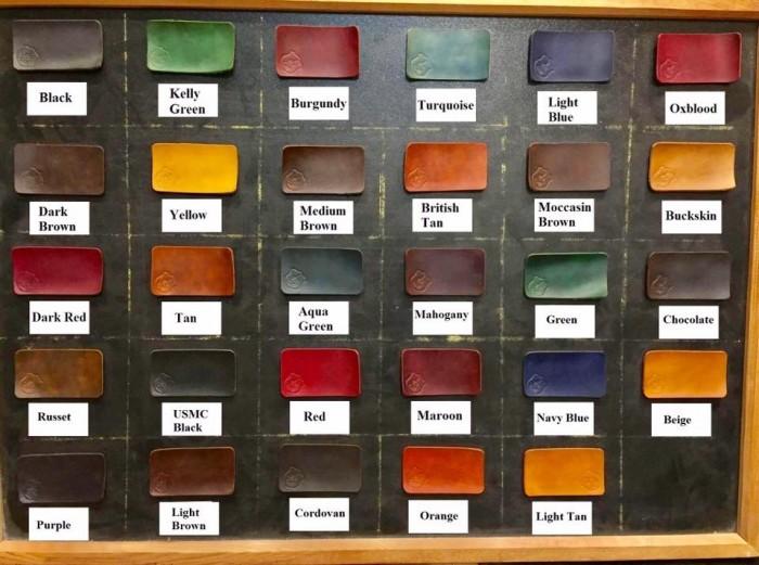 Bảng màu nhuộm Fiebing Dye của Mỹ cho khách hàng chọn lựa2