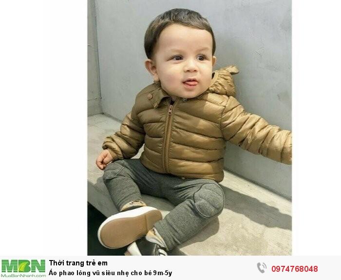Áo phao lông vũ siêu nhẹ cho bé 9m-5y