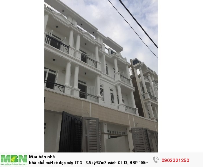 Nhà phố mới rẻ đẹp xây 1T 3L 3.5 tỷ/67m2  cách QL13, HBP 100m, nhà có gara ô tô