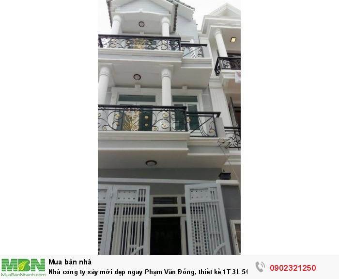 Nhà công ty xây mới đẹp ngay Phạm Văn Đồng, thiết kế 1T 3L 54m2 hỗ trợ vay