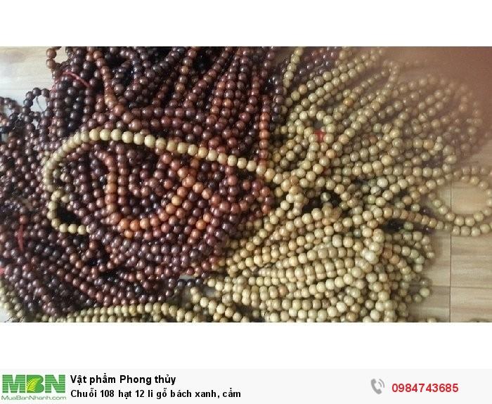 Chuỗi 108 hạt 12 li gỗ bách xanh, cẩm1