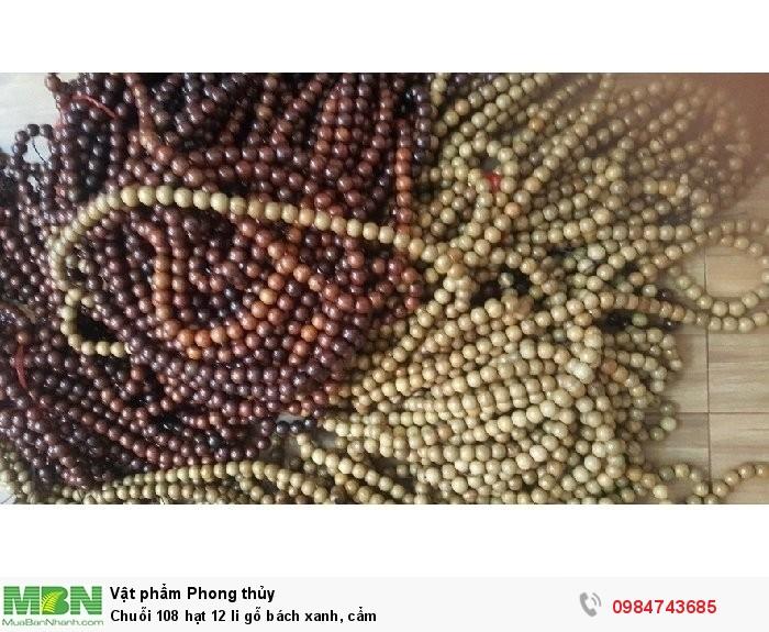 Chuỗi 108 hạt 12 li gỗ bách xanh, cẩm2