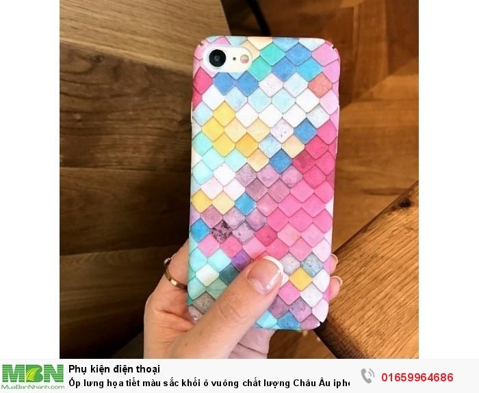 Ốp lưng họa tiết màu sắc khối ô vuông chất lượng Châu Âu iphone 7 case