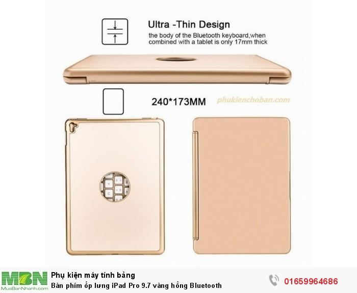 Bàn phím ốp lưng iPad Pro 9.7 vàng hồng Bluetooth2