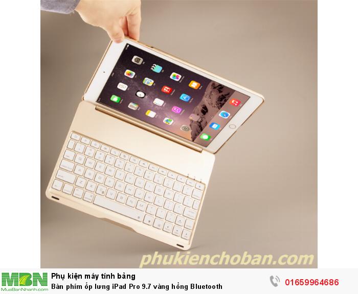 Bàn phím ốp lưng iPad Pro 9.7 vàng hồng Bluetooth3