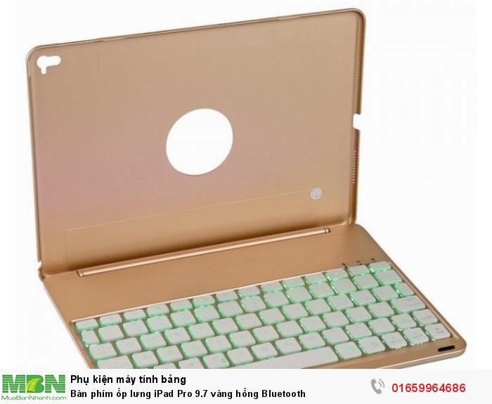 Bàn phím ốp lưng iPad Pro 9.7 vàng hồng Bluetooth5