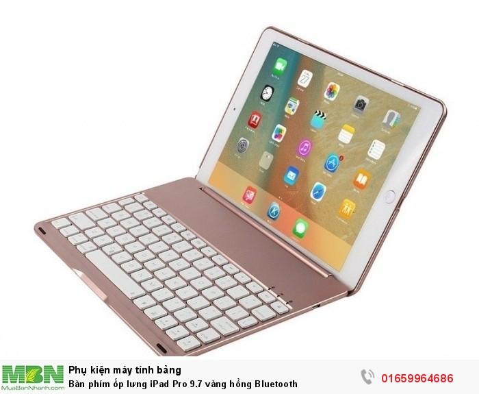 Bàn phím ốp lưng iPad Pro 9.7 vàng hồng Bluetooth8