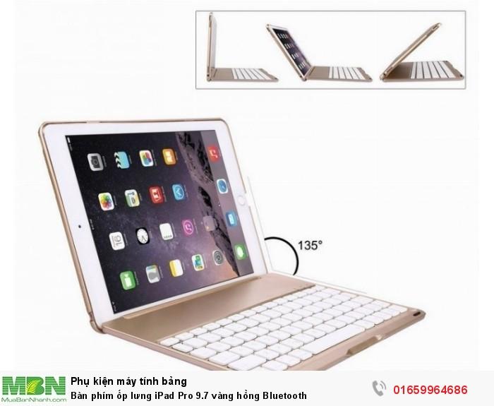 Bàn phím ốp lưng iPad Pro 9.7 vàng hồng Bluetooth9
