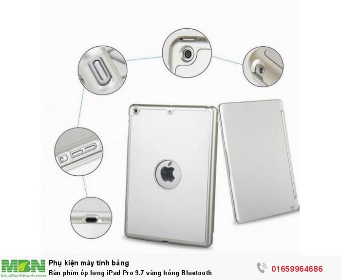 Bàn phím ốp lưng iPad Pro 9.7 vàng hồng Bluetooth10