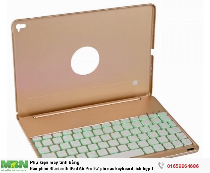 Bàn phím Bluetooth iPad Air Pro 9.7 pin sạc keyboard tích hợp LED4