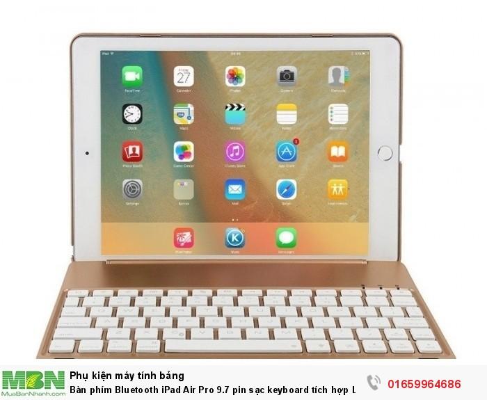 Bàn phím Bluetooth iPad Air Pro 9.7 pin sạc keyboard tích hợp LED7