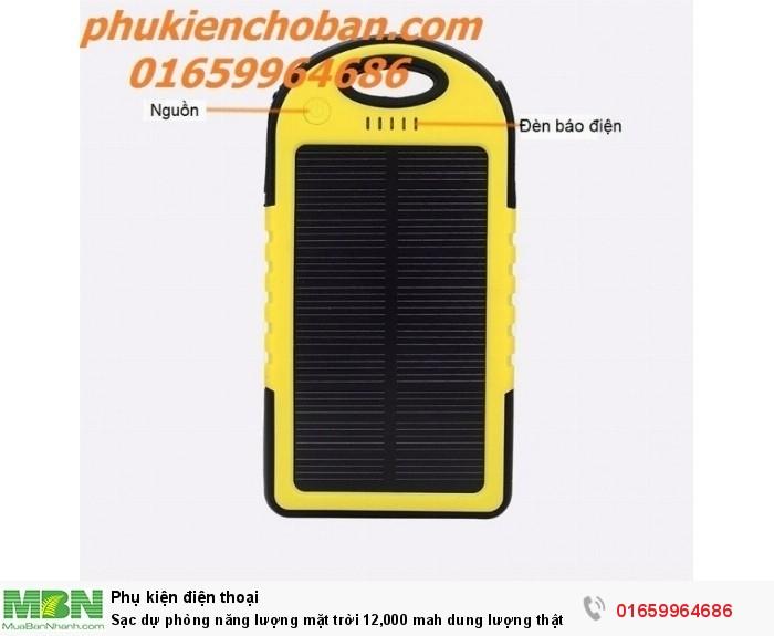 Sạc dự phòng năng lượng mặt trời 12,000 mah dung lượng thật Power bank