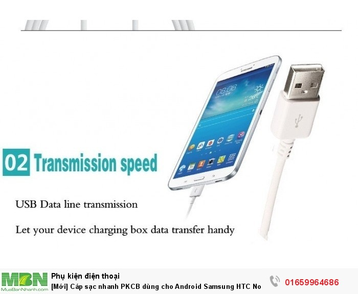 [Mới] Cáp sạc nhanh PKCB dùng cho Android Samsung HTC Nokia Sony