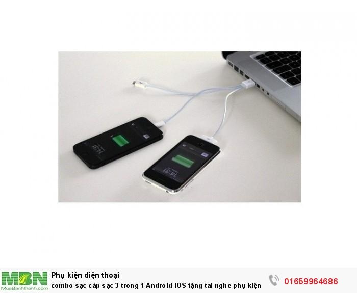 combo sạc cáp sạc 3 trong 1 Android IOS tặng tai nghe phụ kiện cho bạn