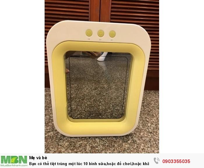 Bạn có thể tiệt trùng một lúc 10 bình sữa,hoặc đồ chơi,hoặc khăn mặt,muỗng chén dĩa...với máy Upang0
