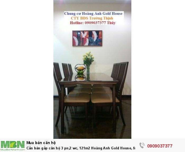 Cần bán gấp căn hộ 3 pn,2 wc, 121m2 Hoàng Anh Gold House, full nội thất
